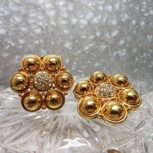 clip on flower gold earrings statement bold  bling